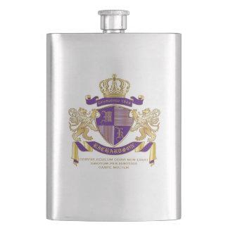 Coat of Arms Monogram Emblem Golden Lion Shield Hip Flask