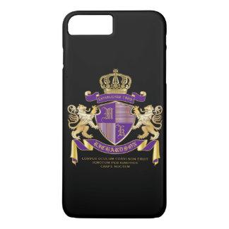 Coat of Arms Monogram Emblem Golden Lion Shield iPhone 8 Plus/7 Plus Case