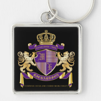 Coat of Arms Monogram Emblem Golden Lion Shield Keychain