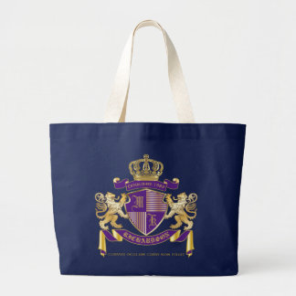 Coat of Arms Monogram Emblem Golden Lion Shield Large Tote Bag