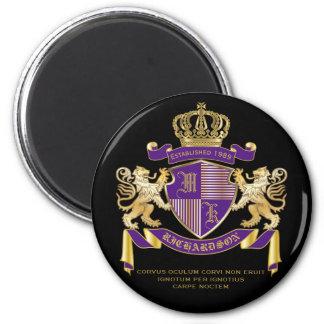 Coat of Arms Monogram Emblem Golden Lion Shield Magnet