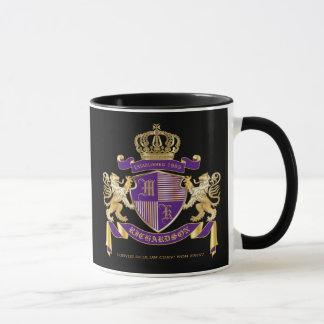 Coat of Arms Monogram Emblem Golden Lion Shield Mug