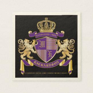 Coat of Arms Monogram Emblem Golden Lion Shield Napkin