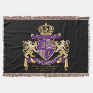 Coat of Arms Monogram Emblem Golden Lion Shield Throw Blanket