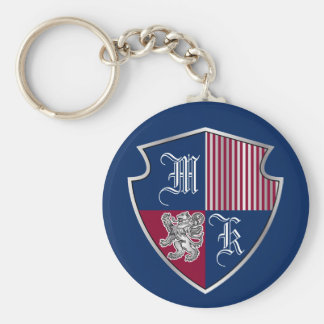 Coat of Arms Monogram Emblem Silver Lion Shield Basic Round Button Keychain