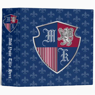 Coat of Arms Monogram Emblem Silver Lion Shield Binder