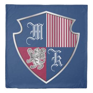 Coat of Arms Monogram Emblem Silver Lion Shield Duvet Cover