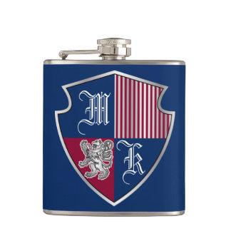 Coat of Arms Monogram Emblem Silver Lion Shield Hip Flask