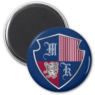 Coat of Arms Monogram Emblem Silver Lion Shield Magnet
