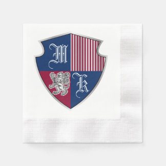 Coat of Arms Monogram Emblem Silver Lion Shield Paper Napkin
