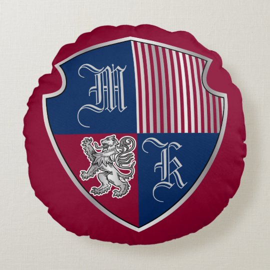 Coat of Arms Monogram Emblem Silver Lion Shield Round Pillow