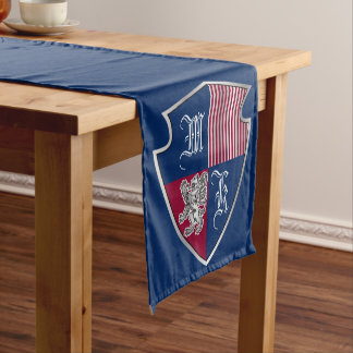 Coat of Arms Monogram Emblem Silver Lion Shield Short Table Runner
