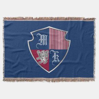 Coat of Arms Monogram Emblem Silver Lion Shield Throw