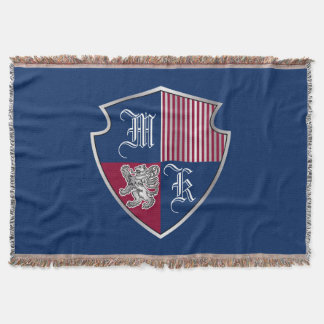 Coat of Arms Monogram Emblem Silver Lion Shield Throw Blanket