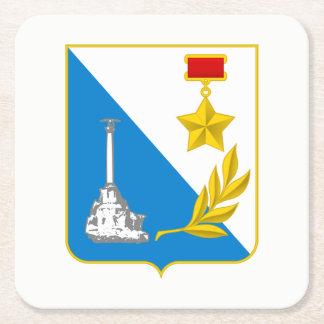 Coat of arms of Sevastopol Square Paper Coaster