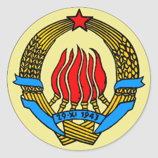 COAT-OF-ARMS OF YUGOSLAVIA CLASSIC ROUND STICKER