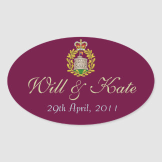 Coat of Arms Royal Will & Kate Sticker (Burgundy)