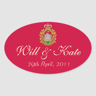 Coat of Arms Royal Will & Kate Sticker (Red)