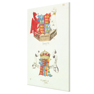 Coats of Arms of Henry VII  and Elizabeth of York Stretched Canvas Prints