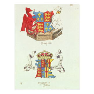 Coats of Arms of Henry VII  and Elizabeth of York Postcard