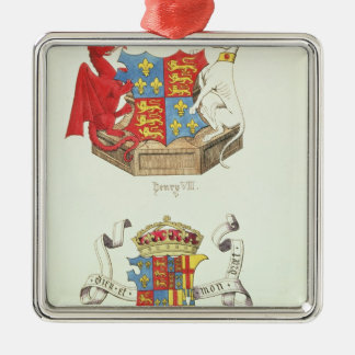 Coats of Arms of Henry VII  and Elizabeth of York Silver-Colored Square Ornament