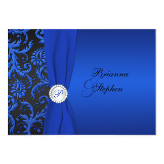 Cobalt and Black Damask Wedding Invitation II