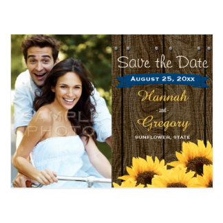 COBALT BLU RUSTIC SUNFLOWER SAVE THE DATE POSTCARD