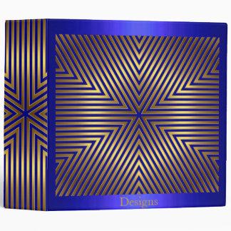 Cobalt Blue and Gold Metal Stripes Binder
