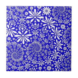Cobalt Blue and White Floral Pattern Tiles