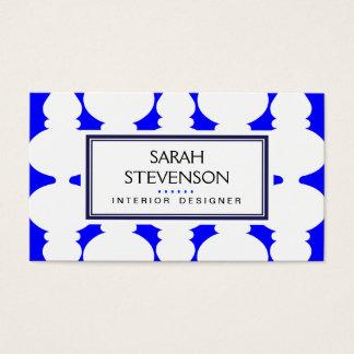 Cobalt  Blue and White Interior Design Modern Hip Business Card