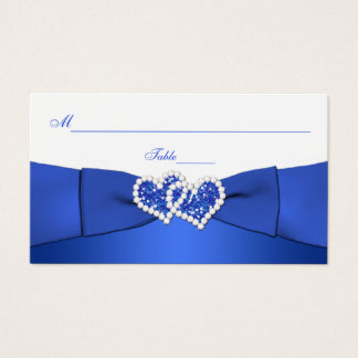Cobalt Blue and White Joined Hearts Placecards Business Card