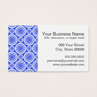Cobalt Blue and White Kaleidoscope Pattern Business Card