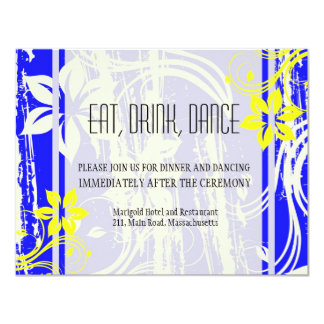 Cobalt Blue and Yellow Wedding Reception Card