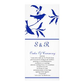 cobalt blue birds Wedding program Custom Rack Cards