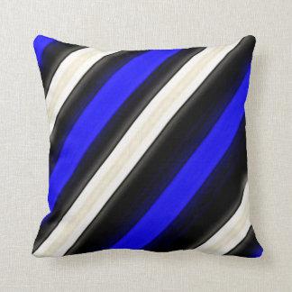 Cobalt Blue, Black and White Diagonal Stripes Throw Pillow