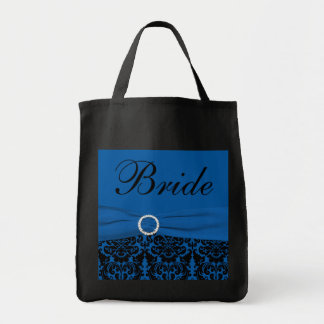Cobalt Blue, Black Damask Bride Tote Bag