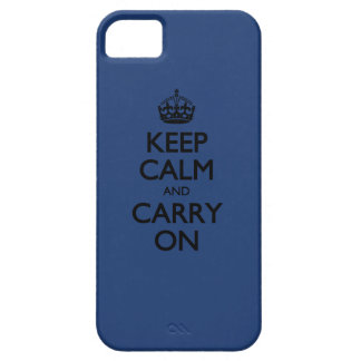Cobalt Blue / Black Text Keep Calm And Carry On iPhone 5 Covers