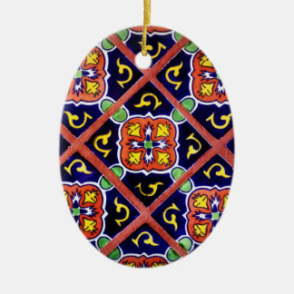 Cobalt Blue Burnt Orange Southwestern Tile Design Ceramic Ornament