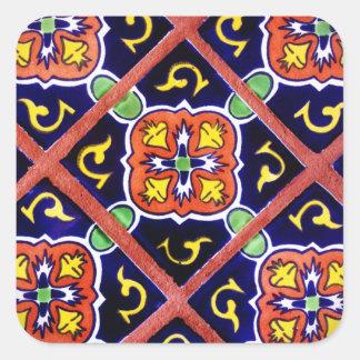 Cobalt Blue Burnt Orange Southwestern Tile Design Square Sticker