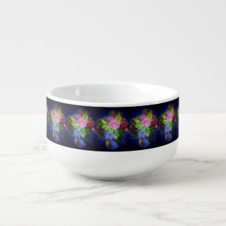 COBALT BLUE FLOWERS IN VASE DESIGN SOUP BOWL SOUP BOWL WITH HANDLE