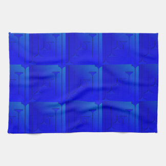 Cobalt Blue Geometric Design Kitchen Towel