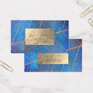 Cobalt Blue Gold Sapphire Sepia Foil Botanical Business Card