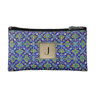 Cobalt Blue & Green Abstract Floral Cosmetic Bag