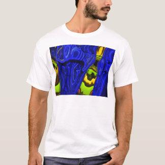 Cobalt Blue Green Yellow Abstract Neon Art Design T-Shirt