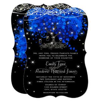 Cobalt Blue Heart Leaf Tree Wedding Card