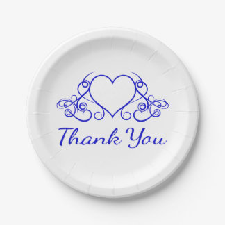 Cobalt Blue Heart Thank You - Wedding Party Paper Plate