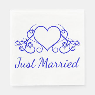 Cobalt Blue Just Married Heart Wedding Party Paper Napkin