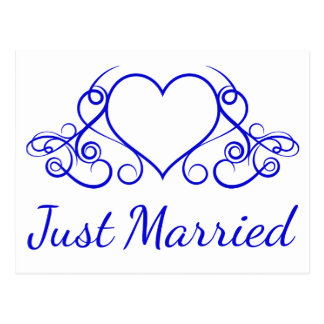 Cobalt Blue Just Married Wedding Floral Heart Postcard