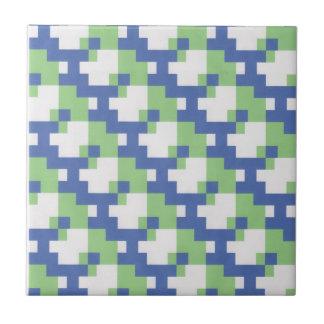 Cobalt blue, lime green and white ceramic tile