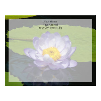 Cobalt Blue Lotus Waterlily Flower Letterhead